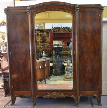 FRENCH TRIPLE ARMOIRE WITH BRONZE MOUNTS