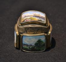 SILVER SNUFF BOX WITH (5) ENAMELED LANDSCAPE