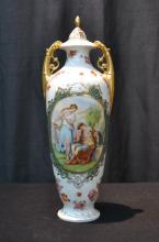 AUSTRIAN TWIN HANDLE COVERED URN WITH