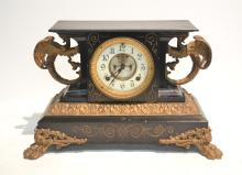 ANSONIA METAL MANTLE CLOCK WITH GILT WINGED