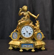 P.H. MOUREY , FRENCH GILT METAL CLOCK WITH