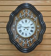 FRENCH BAKERS CLOCK WITH MOTHER OF PEARL INLAY