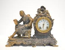 WHITE METAL ANSONIA CLOCK WITH MAN LEANING