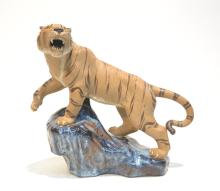 MUD POTTERY TIGER ON ROCK - 11