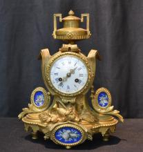 19thC FRENCH BRONZE CLOCK WITH EWER , ROSES &