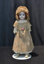 GERMAN BISQUE SHOULDER HEAD DOLL WITH