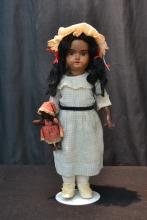 GERMAN AM 390 BLACK BISQUE HEAD DOLL - 15