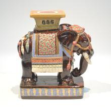 BROWN ORIENTAL ELEPHANT GARDEN SEAT