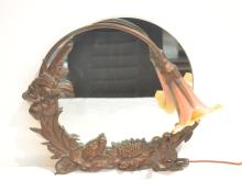 NOUVEAU STYLE BRONZE EASEL MIRROR WITH ART GLASS