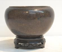 ANTIQUE CHINESE CLOISONNE POT WITH ETCHED DRAGONS