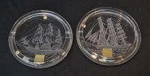 (2) LALIQUE CRYSTAL ASHTRAYS WITH ETCHED SHIPS