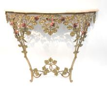 TOLE FLORAL PAINT DECORATED CONSOLE WITH MARBLE