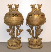 (Pr) RETICULATED BRONZE COVERED URNS WITH