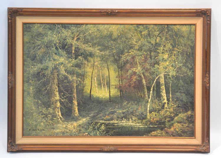 OIL ON CANVAS FOREST LANDSCAPE SIGNED K.BEIBER