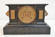 METAL ANSONIA CLOCK WITH LION HEAD HANDLES