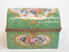HAND PAINTED FRENCH SEVRES HINGED CASKET BOX