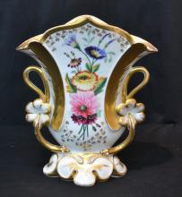 FLORAL HAND PAINTED VASE WITH GILT TRIM