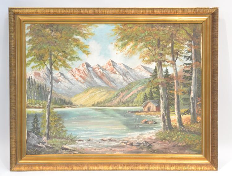 OIL ON CANVAS ALPINE LAKE LANDSCAPE SIGNED