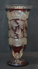 LARGE ETCHED FLORAL RUBY CUT TO CLEAR VASE