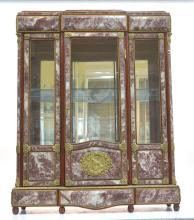 MARBLE MOUNTED CABINET WITH FIGURAL BRONZE MOUNTS