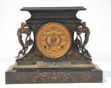 ENGRAVED ANSONIA MANTLE CLOCK WITH CHERUB