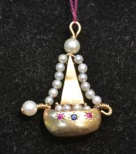 14kt RUBY & SEED PEARL SAILBOAT PENDANT