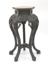 CARVED 5-LEG ORIENTAL MARBLE TOP STAND