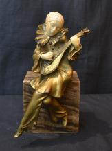 BRONZE & IVORY GIRL WITH MANDOLIN SEATED ON