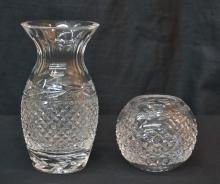 WATERFORD ROSE BOWL & VASE - TALLEST IS 7