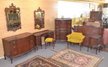 (9)pc CHIPPENDALE CARVED MAHOGANY BEDROOM SET