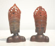 CARVED WOOD BUSTS - 4