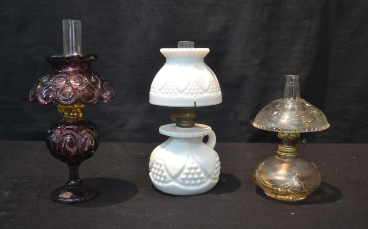 3 miniature oil lamps with shades consisting of. Black Bedroom Furniture Sets. Home Design Ideas