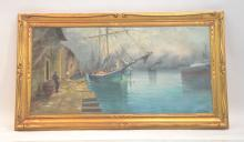 OIL ON CANVAS SHIPS AT DOCK WITH FIGURES