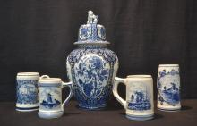 DELFT COVERED URN & (4) MUGS - 7