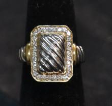 2-TONE 14kt GOLD & DIAMOND RING - SIZE 6 1/4