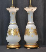 (Pr) JEWELED OPALINE LAMPS WITH GOLD DECORATIONS