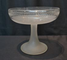 VICTORIAN FROSTED & CUT GLASS BOWL - 8