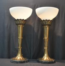 CHAPMAN BRONZE TORCH FORM LAMPS ON MARBLE BASES