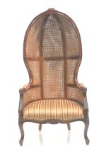 CANED DOUBLE WALL BONNET CHAIR WITH