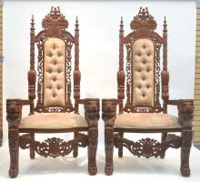 (Pr) CONTEMPORARY LARGE CARVED THRONE CHAIRS