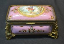 FRENCH ENAMEL HINGED BRONZE BOX WITH WOMAN &