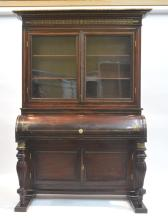 19thC MAHOGANY CYLINDER DESK WITH BOOKCASE