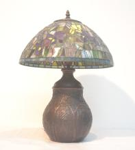 LEADED GLASS LAMP WITH FLOWERS & METAL FOREST