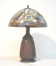 LEADED GLASS LAMP WITH METAL BASE