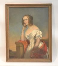 OIL ON CANVAS PORTRAIT OF LADY SINCLAIR , WIFE OF