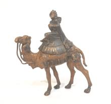 COLD PAINTED BRONZE MAN ON CAMEL ; MARKED