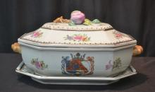 CHINESE EXPORT STYLE TUREEN & UNDERPLATE WITH