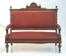 CARVED VICTORIAN HIGH BACK SETTEE