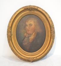 19thC OIL ON BOARD OVAL PORTRAIT OF