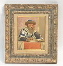 OIL ON PANEL PORTRAIT OF SEATED RABBI SIGNED